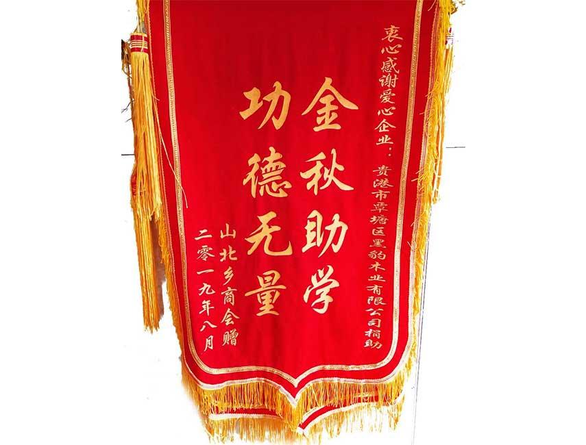慈善助学荣誉锦旗